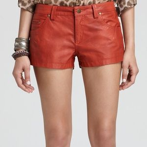 FREE PEOPLE | Vegan Red Leather Shorts Size 8